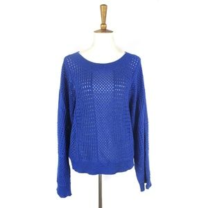 Anthropologie Moth blue open knit Reese sweater, S